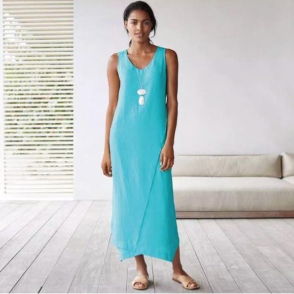 2d238ec5a316 NWT J.JIll Pure Jill Linen Blue Capri Maxi Dress